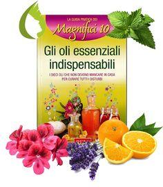 GLI OLI ESSENZIALI INDISPENSABILI - Riza. I dieci oli che non devono mancare in casa per curare tutti i disturbi. Le essenze estratte dalle piante sono dei potenti concentrati di sostanze benefiche efficaci per curare la nostra salute, il benessere e la bellezza. Fra i numerosi oli essenziali abbiamo scelto i 10 più utili da tenere a portata di mano: Lavanda - Tea tree oil - Eucalipto - Limone - Menta - Arancio - Rosmarino - Timo - salvia - Geranio.http://goo.gl/PWc2Ox