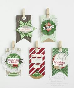 Loving the Under the Tree Tag a Bag Accessory Kit, Trim the Tree DSP Stack and Cheerful Tags stamp set! Christmas Paper Crafts, Stampin Up Christmas, Noel Christmas, Christmas Gift Tags, Xmas Cards, All Things Christmas, Handmade Christmas, Holiday Cards, Gift Cards