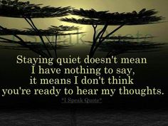 Quietude - and maybe I'm not ready to deal with the consequences of breaking my silence......