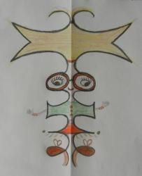 lesson in symmetry. Also good to practice cursive! Symmetry Design, Classe D'art, Alien Crafts, Heart Journal, Ecole Art, Educational Crafts, Family Crafts, Art Lessons Elementary, Art Challenge