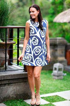Cotton shift dress, 'Java Roses' - Floral Cotton Shift Dress