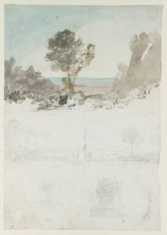 Joseph Mallord William Turner, 'Sketches from Paintings by Claude: (1) 'Landscape with David and the Three Heroes'; (2) 'Landscape with Christ Appearing to Mary Magdalen'; (3) 'Landscape with Philip Baptising the Eunuch'; (4) 'Parnassus'; (5) 'Landscape with Hagar and the Angel'' 1804