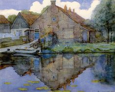 Piet Mondrian (1872 — 1944, Dutch) House on the Gein. 1900 watercolor and gouache on paper. 46 x 57 cm. (18.11 x 22.44 in.)