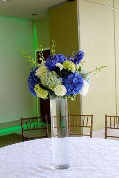 d928130afd90 Allison Phalen Floral Design - Blue white and green centerpiece