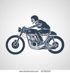 skull ride a classic cafe racer motorcycle - stock vector