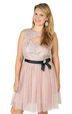 Plus Size Metallic Lace Dress with Keyhole Neckline and Satin Bow