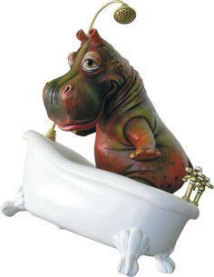 Hippo in Tub. $850. Ceramic/Mixed Media. Edition of 150