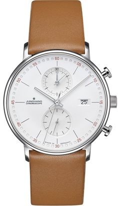 The Form C Chronoscope Quartz Matt Silver Watch with lines in a Tan leather strap from Junghans showcase luxurious designs with their model. Casual Watches, Cool Watches, Elegant Watches, Army Watches, Wrist Watches, Bracelet Cuir, Rolex Datejust, Luxury Watches For Men, Beautiful Watches
