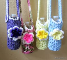 Flower Water Bottle Holder, Crochet Bottle Carrier, Water Cozy, Water Tote Bag by SandeesKreations on Etsy