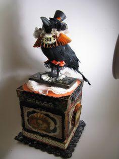 /Crow on music box Halloween Paper Crafts, Vintage Halloween Decorations, Halloween Ornaments, Halloween Projects, Halloween Cards, Holidays Halloween, Spooky Decor, Halloween Ideas, Halloween Raven