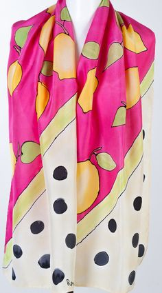 Hand Painted Crepe De Chine Scarf Lemons Black Dots Fashion