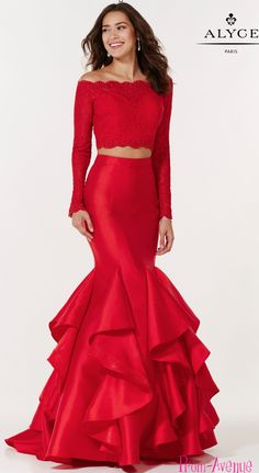 Elegant off shoulder two piece prom dress by Alyce Paris 6754  https://www.prom-avenue.com/off-shoulder-crop-top-two-piece-mermaid-dress/ #twopiece #prom #promdress #promgown #promavenue #greendress #fashion #ruffles #longsleeves #promshop