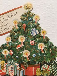 A personal favorite from my Etsy shop https://www.etsy.com/listing/477223286/vintage-christmas-card-glittered-tree