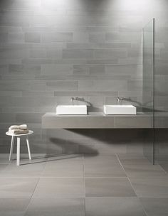 Grace and power: Mosa Solids  - Every design needs a solid base! #grey #bathroom #minimal