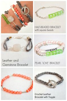 DIY 5 Beginner Bracelet Tutorials from One Artsy Mama.I have posted before that one of my go to gifts for kids are jewelry making kits. I f...