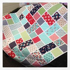 """""""Here is the quilt I made using the #daysail fabric by #BonnieAndCamille. This is a #LayerCake friendly quilt and it was supper speedy to make! #modafabrics"""""""