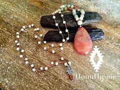 Grounding Boho Hamsa Hand necklace fire agate long by HonuHippie