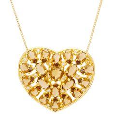 Colar pingente coração pedras naturais semi-joia