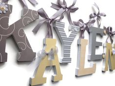 Wooden Letters for Nursery - Kids Rooms,6 Inch Letters, GRAY and YELLOW Theme