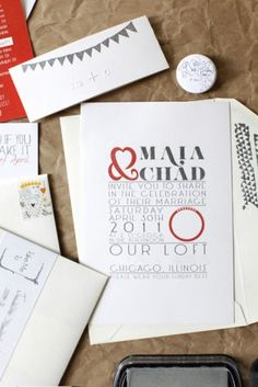 #Gray and #Red #wedding #invitations
