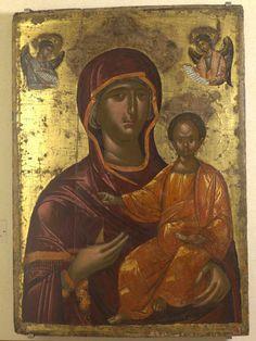 Mother of God Hodegetria, icon from C - Cretan School Religious Images, Religious Icons, Religious Art, Byzantine Icons, Byzantine Art, Statues, Orthodox Catholic, Jesus E Maria, Black Art Pictures