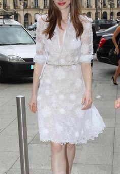 White Lace Embroidery Organza Dress.