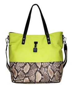 Take a look at this Neon Python Getaway Tote by Jessica Simpson Collection on #zulily today!