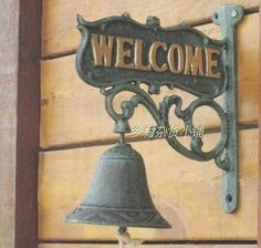 Vintage cast iron bell doorbell Welcome to Continental grass wall paper models cafe bar - Taobao