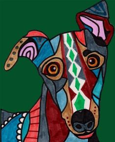 Dog Art - Greyhound Dog Art Modern Folk Art