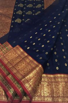 Shop for Blue Handloom Chanderi Katan Silk Saree - Christmas-Desserts