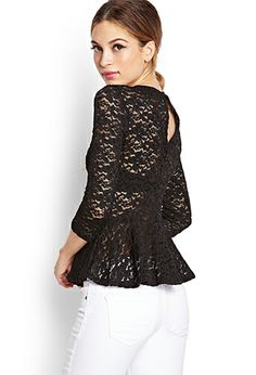 Crochet Lace Peplum Top | FOREVER 21 - 2055879583