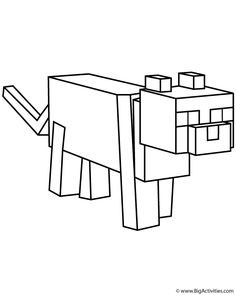 Minecraft Coloring Page With A Picture Of An Ocelot To Color