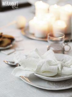 WERANNA'S: White Christmas table setting part I - valkoinen joulukattaus part I #himla #oninterior #whitechristmas #tablesetting