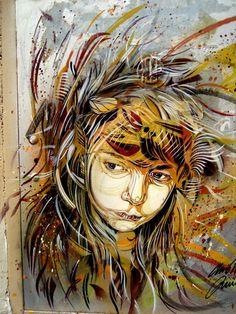 Hojas en el cabello, Street Art by C215 one of the bests!