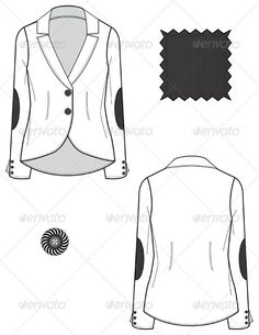Fashion Flat Sketches for Women's Leather Blazer