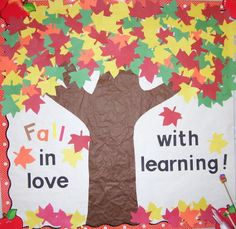 "This teacher has mixed red, yellow, orange, and green leaves together to create a very colorful fall bulletin board display idea for the theme:  ""Fall In Love With Learning!"""