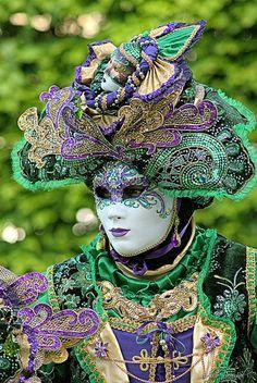 Venetian Mask, Mardi Gras, Carnival, Carnivale, Green, purple, gold.