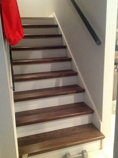 cheater trick for getting rid of carpet stairs | stair redo, wood