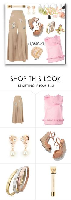 """""""Espadrilles"""" by freida-adams ❤ liked on Polyvore featuring HUISHAN ZHANG, MSGM, Schutz and Yves Saint Laurent"""
