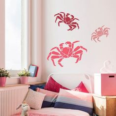 Crab Wall Stencil Nautical Designs For Stenciling Sea Creatures On Walls Furniture And Fabric