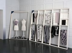 Large leaning frames/display. Hum, I could really use a ladder for all the clothes I don't feel like putting away…