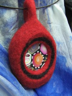 felted red and black merino wool pendant