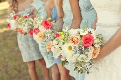 light blue bridesmaid dresses with the bright coral @ Wedding Ideas