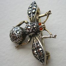 Sterling Germany Marcasite Insect Brooch Pin