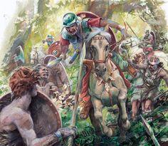 Roman cavalry vs. Germanic tribesmen in the battle Teutoburg Forest.