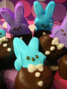 Chocolate Dipped Marshmallow Peep Easter Bunny Bunnies  #build a bear # easter
