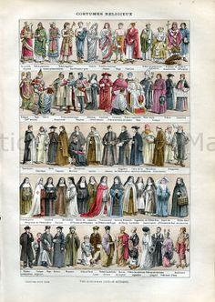 Religious Uniforms Vestments Robes Habits by AntiquePrintsAndMaps, $12.00