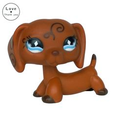 Lovely Collection lps #640 Animals Swirl Blue Diamond Eyes Brown Dachshund Dog free shipping
