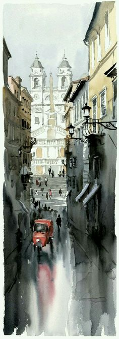 water color painting by:Igor Sava Watercolor City, Watercolor Artists, Watercolor Landscape, Watercolor Paintings, Watercolors, Pinturas Em Tom Pastel, Art Aquarelle, Watercolor Architecture, Urban Sketching