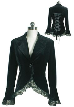 Goth velvet lace-up jacket. This shouldn't be too hard to reconstruct.